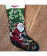 Stephen Personalized Needlepoint Christmas Stocking Santa Tree Presents ... - $29.21