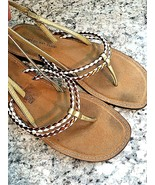 MONTEGO BAY CLUB Sandals Open Toes Flats Ankle Straps Copper White Gold ... - $16.78