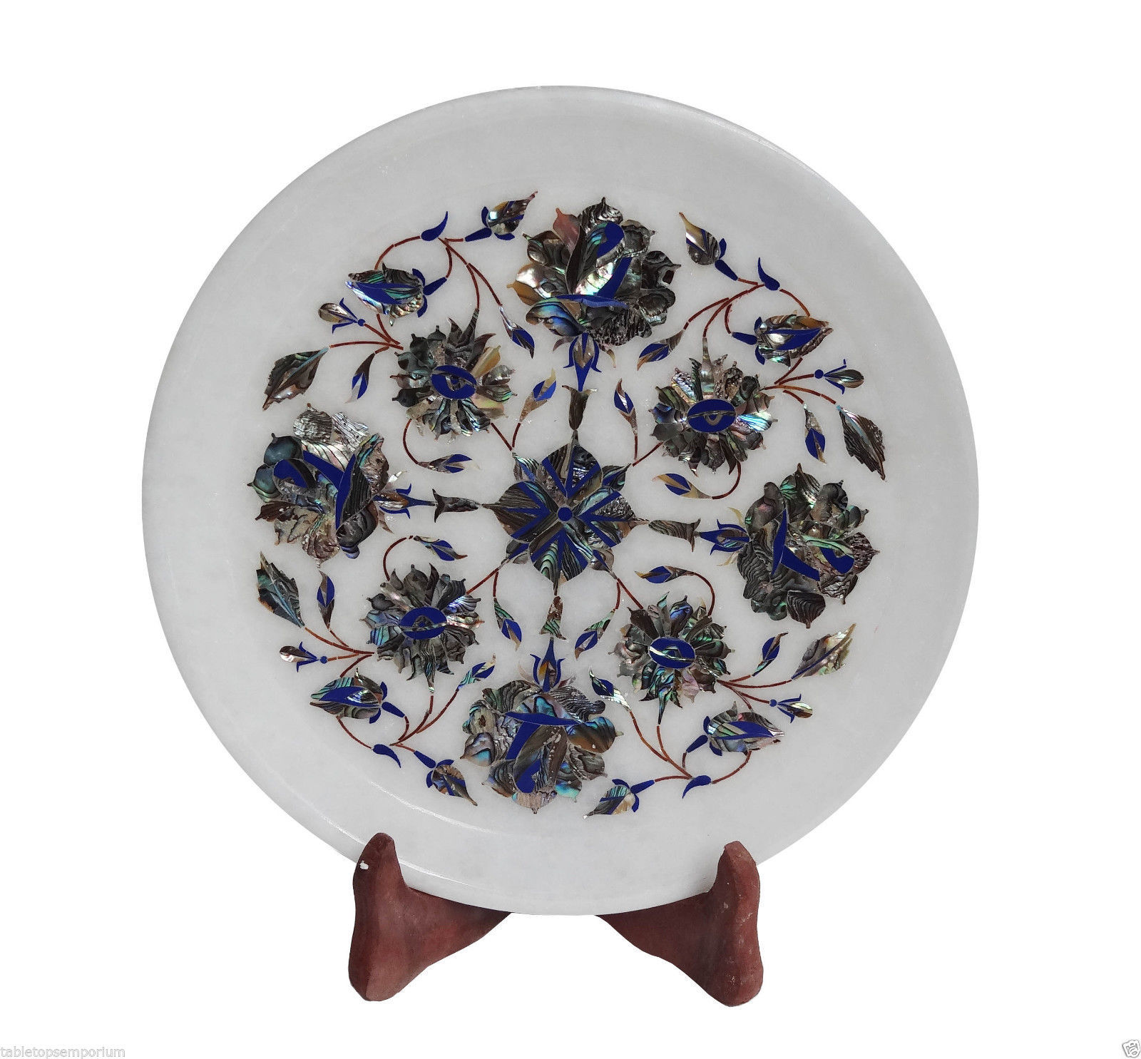 Marble Tray Plate Lapis Gems Pauashell Inlay Deco Exclusive Kitchen Decor Gift - $107.02