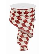 "2.5"" Vintage Harlequin Ribbon: Red 10 Yards Red Cream Diamond Wired Ribb... - $22.10"