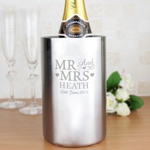 PERSONALISED Mr and Mrs Wine Cooler : Stainless Steal : Add Names : Gift - $36.83