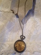 Vintage Reproduction Antique Brass Covered Pocket Watch Necklace - $44.55