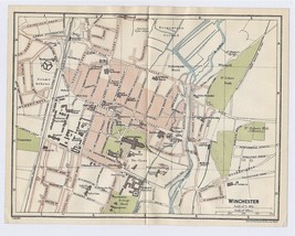 1924 ORIGINAL VINTAGE CITY MAP OF WINCHESTER HAMPSHIRE / ENGLAND - $20.20