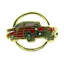 Chevy 1957 Gold Circle Red Car Emblem Pin Pinback - $7.91