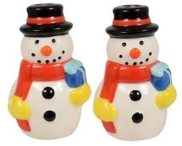 "2 Pc Set Of Ceramic Salt & Pepper Shakers (App. 3"") Christmas, 2 Snowmen, Ch - $9.89"