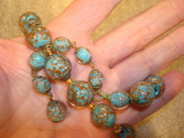 "Vintage Gold Flake Flux Turquoise Glass Bead Necklace 16.5"" Long - $27.71"