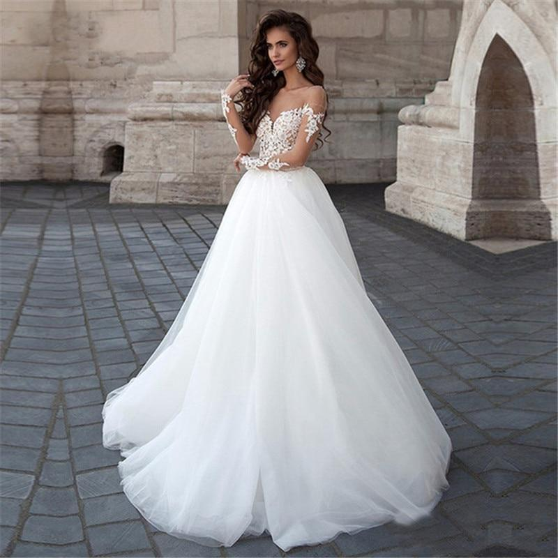 Ng sleeve wedding dress 2020 new tulle with lace appliques illusion bridal gown ball gown summer