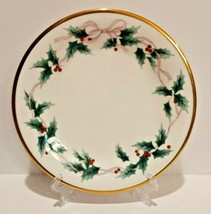 "Mikasa Ribbon Holly Christmas China Salad Plate. One 8 1/4"" Plate. - $9.85"