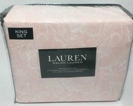 Ralph Lauren 100% Cotton 4pc Paisley Orange And White Sheet Set - King - $98.99