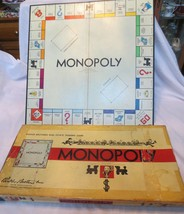 VTG MONOPOLY GAME 1954 GAME Wood PIECES RULES BOARD & ORIG BOX - $12.00