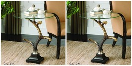 TWO NEW LOOKING NATURAL FAUX DEER ELK ANTLER ACCENT END TABLE GLASS TOP ... - $595.00