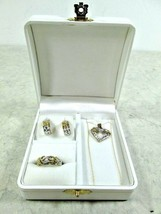 UNIQUE 10K SOLID YELLOW WHITE GOLD XOX HEART THEME NECKLACE EARRINGS & R... - $275.00