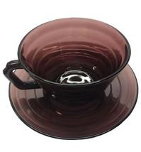 Hazel Atlas Moderntone Amethyst Purple Cup And Saucer Saucer Vintage Preowned - $5.94