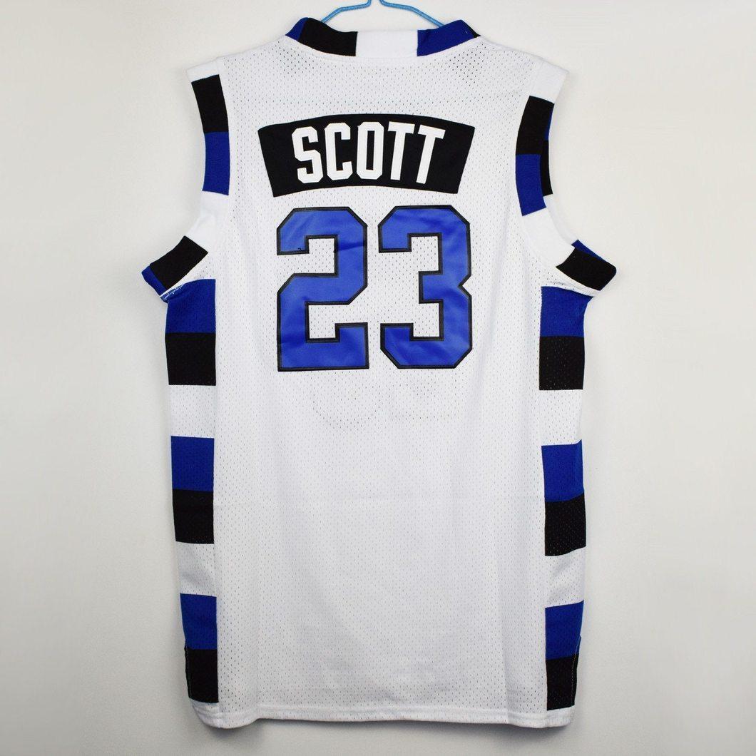 ebc84c6cf97a Nathan Scott  23 White One Tree Hill Ravens Basketball Jersey S-XXL