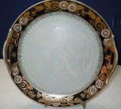 Vtg Hand Painted Noritake Cake Plate With Heavy Gold Accent On Black & Oyster  - $85.00