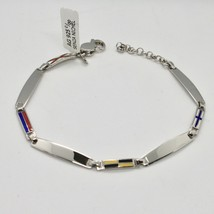 SOLID 925 RHODIUM SILVER BRACELET WITH GLAZED NAUTICAL FLAGS MADE IN ITALY image 1