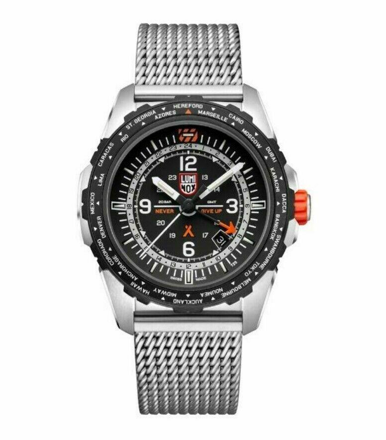 Luminox Bear Grylls Air GMT XB.3762 44mm Black Mesh Steel Quartz Men's Watch