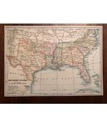"""Vintage Color US THE SOUTH SOUTHERN STATES Print Plate 5.5"""" x 8"""" Unframed - $14.00"""