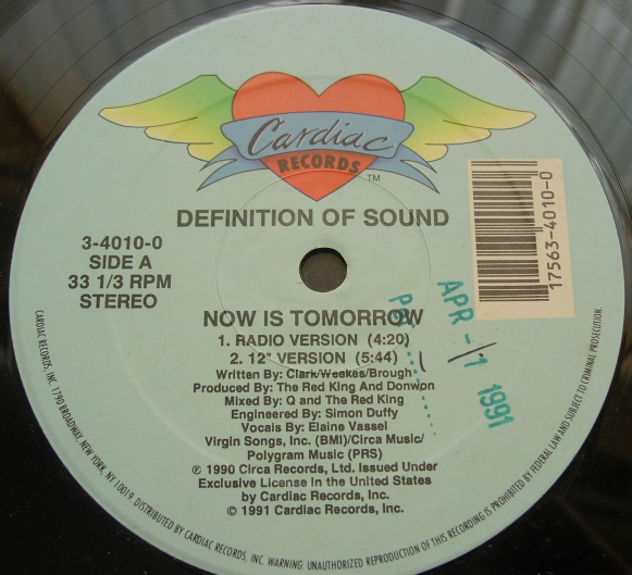Definition of Sound - Now Is Tomorrow - Cardiac Records 3-4010-0