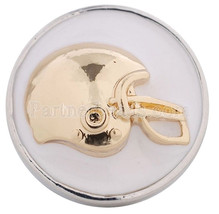 White Gold Football Helmet Sport 20mm Snap Charm For Ginger Snaps Jewelry - $6.19