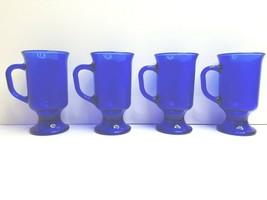 "4 Anchor Hocking Cobalt Blue 5"" VTG 8 Oz Footed Coffee Tea Decor Glass M... - $46.40"
