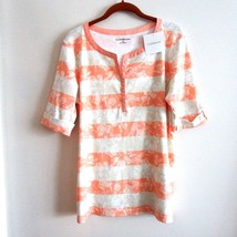 Croft&Barrow Striped Floral Short Sleeve Top Peach Cream Tan XL - $25.25