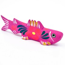 Handmade Alebrijes Oaxacan Painted Wood Folk Art Flower Trout Fish Figurine
