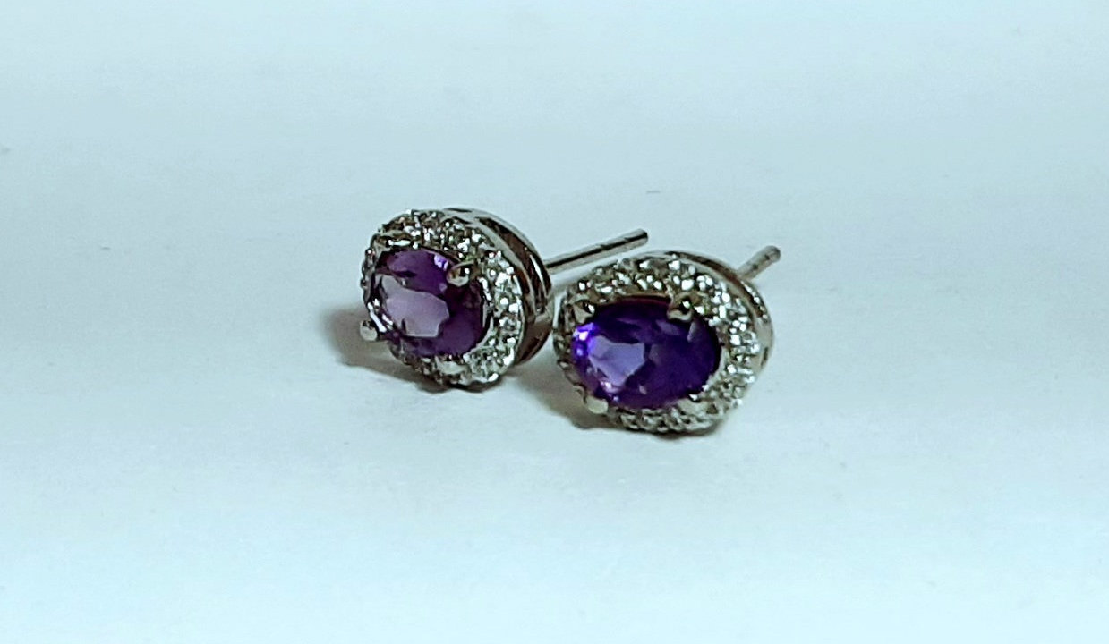 925 Sterling Silver Natural Amethyst And Cz Gemstone Handcrafted Design Women's
