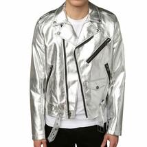 Mens Biker Jacket Silver Motorcycle Slim Fit Goth Punk Moto Leather Jacket - $69.99
