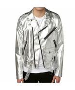 Mens Biker Jacket Silver Motorcycle Slim Fit Goth Punk Moto Leather Jacket - £47.00 GBP