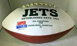 JOE NAMATH / NFL HALL OF FAME / HAND SIGNED NEW YORK JETS LOGO WHITE FOOTBALL image 2