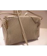 Vintage Whiting & Davis Beige Metal Mesh & Leather Shoulder Bag Cross Body - $31.68