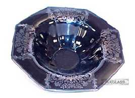 Black Glass Console Bowl w/ Fruit & Flower Silver Overlay - $43.85