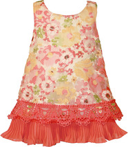 Bonnie Jean Baby Girl 3M-9M Coral Floral Organza A-line Social Party Dress