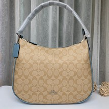 Coach F29209 Zip Shoulder Bag Signature Coated Canvas Light Brown Blue - £135.73 GBP
