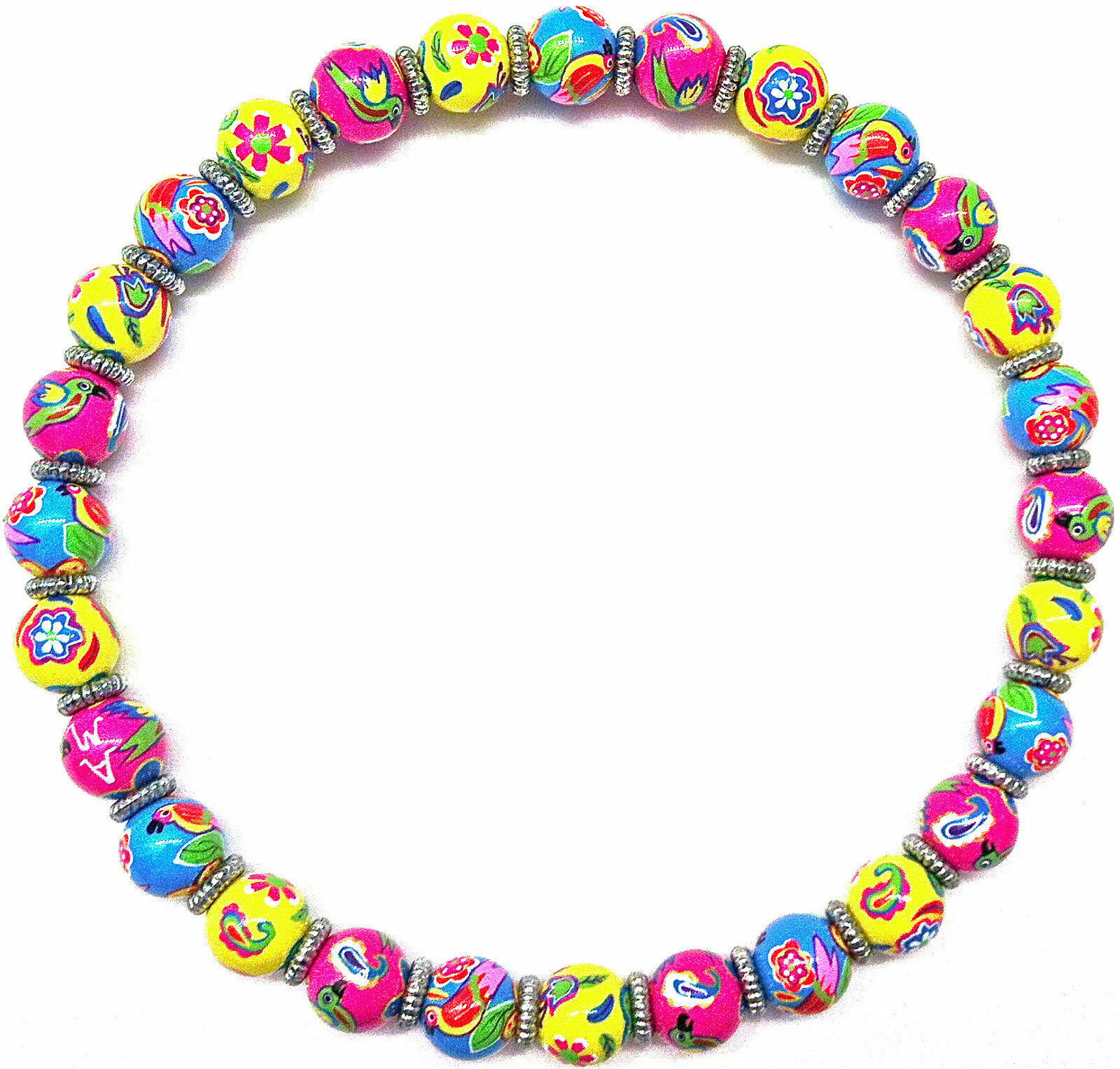 NEW ANGELA MOORE PINK YELLOW BLUE BEADED NECKLACE FLOWERS BIRDS SILVER SPACERS - $49.49
