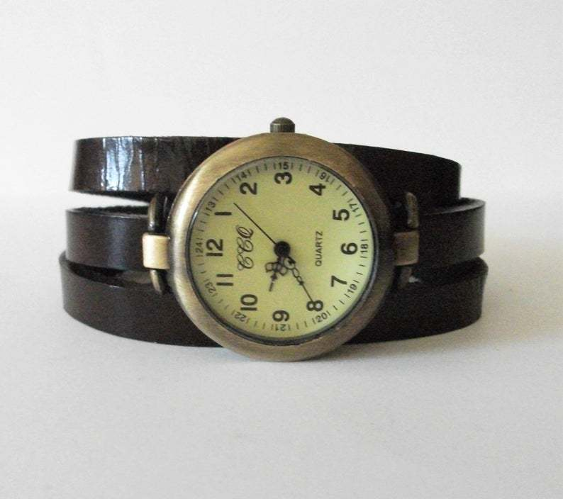 Watch wrap around leather strap