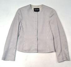 Giorgio Armani Black Label Raise Stripe Silver Grey Jacket Womens 38 Italy image 6