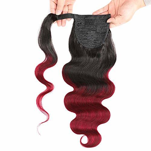 Primary image for Seelaak Ombre 99j Body Wave Pony tail Remy Human Hair Ponytail Extension Wrap Ar