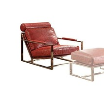 Acme Furniture Quinto Accent Chair, Antique Red Top Grain Leather/Stainless Stee - $1,553.19