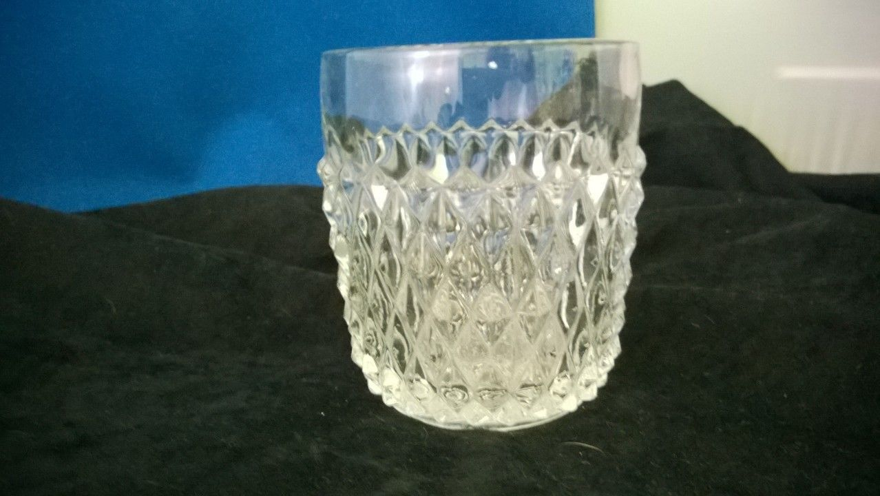 Indiana Glass Diamond Point Clear Old Fashion Glass
