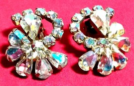 VINTAGE AURORA BOREALIS RHINESTONE CLIP ON EARRINGS - $40.00
