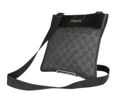 GUCCI GG Web Canvas Leather Black Crossbody Shoulder Bag GS2570 - $269.00