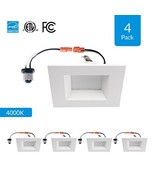 4-Pack 6-inch Dimmable LED Square Downlights, 12W (4 Pack 4000K (Cool Wh... - $79.71