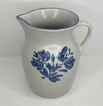 "Pfaltzgraff Yorktowne Pitcher Jug Stoneware Pottery Blue 8"" Tall NO Chips READ - $16.82"