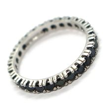 18K WHITE GOLD ETERNITY BAND RING, BLACK CUBIC ZIRCONIA, THICKNESS 3 MM image 4