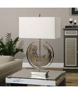 Faux Driftwood Table Lamp Polished Nickel 29H Coastal Decor Modern Nautical - $261.80