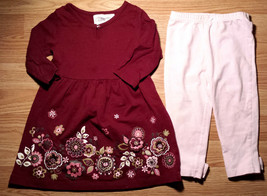 Girl's Size 18 M Two Piece Burgundy Floral Embroidered Dress/ Top & Legg... - $18.00