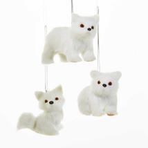 Plush White Polar Bears & Fox Ornament - $12.95