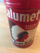 Vintage 70s Calumet Baking Powder tin packaging with recipe book offer  image 5